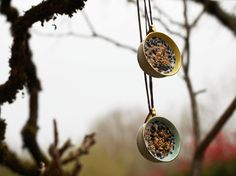 Bird Feeder: Hanging Teacups filled with Birdseed - Vintage French cups - Outdoor Spring Garden Decor - Nature Inspired - Set of Two