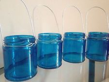 Hanging glass jar tea light candle holder lanterns heart wedding Blue