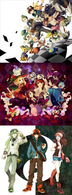 Pokemon Black And White | Satoshi (Ash) | Pikachu | Cheren | Bianca | Hilda (Heroine) | Hilbert (Hero) | N