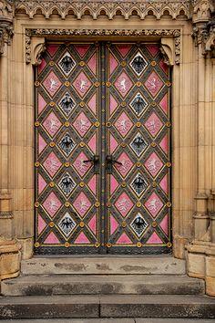 Pink doors in Prague, Czech Republic Cool Doors, The Doors, Unique Doors, Windows And Doors, Door Entryway, Entrance Doors, Doorway, Grand Entrance, Knobs And Knockers
