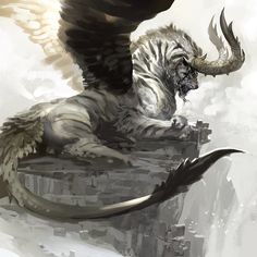 tiger with horns wings . This drawing is amazing it looks like he is alive.
