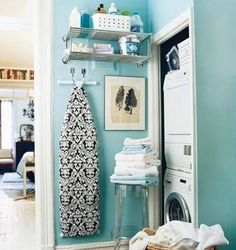 Diy Home decor ideas on a budget. : 5 ELEMENTS OF A ROOM. Love this idea for our laundry closet. hang the iron board and etc instead of just setting it in the corner..awesome. ALSO love the pop of color:)
