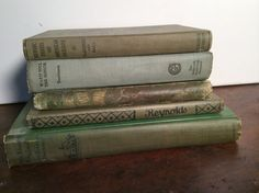 Antique Books Green by hootennanny on Etsy / Set of five vintage books, all with green covers. Each book is unique in subject and size. The books range from 1891-1930. Would look great in a library, study, living room or any shelf that you want a splash of beautiful greens. Titles: Little Known England (1st edition), The Two Shipmates, Heroic Deeds Of American Sailors, Ward Hill The Senior and Reynolds.