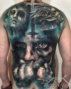 full back tattoo by Charles Huurman.