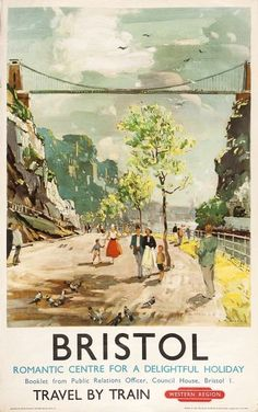 Vintage Bristol Travel by Train Poster British Railways, 1950 Posters Uk, Train Posters, Railway Posters, Retro Posters, Poster Vintage, Vintage Travel Posters, Vintage Ski, British Railways, British Travel