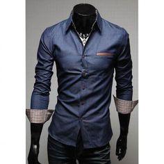 Casual Style Lapel Collar Pockets Design Bleach Wash Long Sleeves Denim Shirt For Men 9578