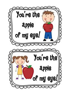 You're the apple of my eye! with an apple on their desks