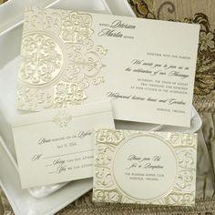 """Chloe B """"Vintage Gold"""" wedding invites."""