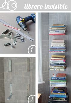 Invisible bookshelf. Could work for DVDs too.