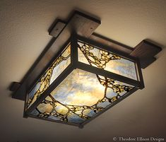 Mahogany lantern with dogwood stained glass - Theodore Ellison Designs