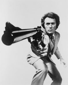 "Clint Eastwood - Dirty Harry ""this is a magnum 44, the most most powerful handgun in the world,and it can blow your brain to hell, so go ahead punk,MAKE MY DAY"""