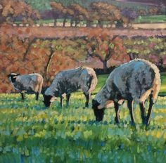 Oil pantings by Sussex artist, James Lightfoot Oil Painting On Canvas, Sheep, Paintings, Autumn, Artist, Animals, Fall Season, Fall, Animaux