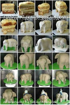 Elephant carving and covering 3d Cakes, Fondant Cakes, Cupcake Cakes, Cake Decorating Techniques, Cake Decorating Tutorials, Cake Structure, Gravity Cake, Cake Templates, Fantasy Cake