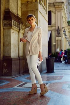 kristina in some meeting in milan, italy wearing: randa shoes, minusey blazer, gucci clutch, zara pants and lovers & friends shirt