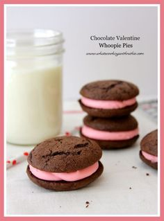 Chocolate Valentine Whoopie Pies are moist and tasty- easy from a cake mix! by whatscookingwithruthie.com #recipes #cookies #valentines