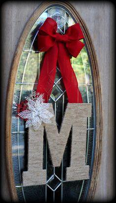 Christmas Winter Custom Monogrammed Initial Door Wreath Hanger- twine wrapped, burlap bow, pinecones/berries or snowflakes/poinsettias on Etsy, $35.00