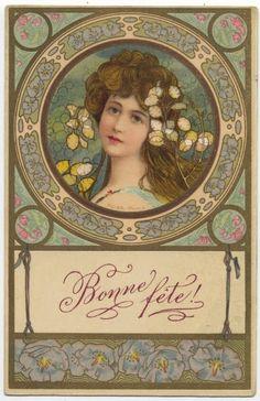 "Bonne Fête c.1902 ""  Happy New Year postcard."