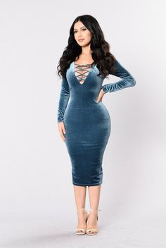 - Available in Teal - Long Sleeve - Deep V - Lace Up Dress - Low Back - Velvet - 95% Polyester 5% Spandex