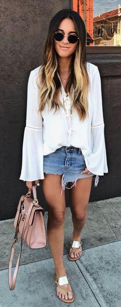 White Blouse & Denim Skirt & Pink Leather Tote Bag