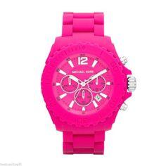 New-Michael-Kors-Womens-Watch-DRAKE-Pink-Silicone-Chronograph-W-Box-MK8262