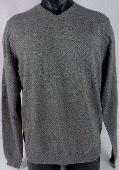 Wallin & Bros Mens L Cotton Cashmere V-Neck Sweater Heather Gray LS Ribbed EUC #WallinBros #VNeck