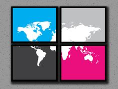 4 Pack of World Map Prints, Global Map, World Print, Art, Custom, Travel, Location, Long Distance Relationship, Silhouette, Wedding, Classroom, History Teacher, World Map, Map of World by DesignsByTenisha, $25.00