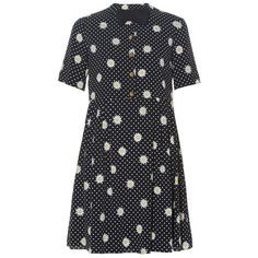 Saint Laurent Bow tie-embellished daisy-print dress ($3,990) ❤ liked on Polyvore featuring dresses, black print, print dress, black flower dress, flower print dress, polka dot dress and black mini dress