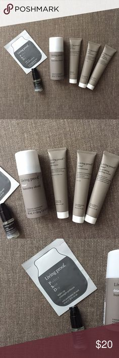 Living proof bundle All travel sizes! Living proof No Frizz: shampoo (1oz), conditioner (1oz), nourishing styling cream (1oz), and  humidity shield (1.8oz). Overnight mask (single use packet) and satin hair serum (.5oz). All NEW and NEVER opened. Sephora Makeup