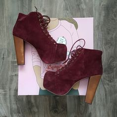 Authentic Jeffrey Campbell Maroon Suede Litas 5.5 (but can fit most 6s) authentic maroon suede Litas with basically no wear. Bought from Nordstrom, come with the original box, super comfy and amazing wih every outfit! Jeffrey Campbell Shoes Heels
