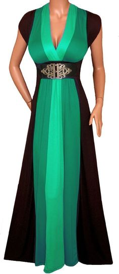 Emerald Green Black Block Maxi DRESS, WOMEN Plus Size