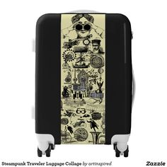 Steampunk Traveler Luggage Collage. Time travelers pack your bag and travel in style with this Steampunk collage design by Artinspired.