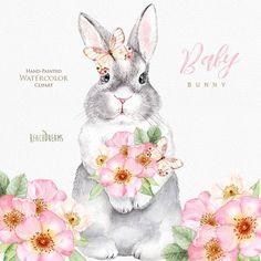 Watercolor Clipart to create and make de ReachDreams en Etsy Watercolor Images, Watercolor Artwork, Baby Showers, Bunny Painting, Bunny Images, Baby Clip Art, Decoupage Vintage, Bunny Art, Art Mural