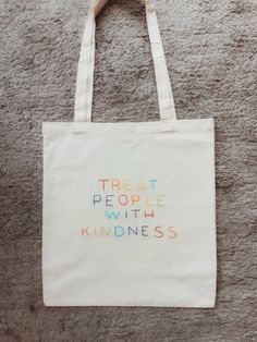 Embroidery On Clothes, Embroidery Bags, Shirt Embroidery, Embroidery Patterns, Diy Tote Bag, Treat People With Kindness, Cute Bags, Cotton Tote Bags, Canvas Tote Bags