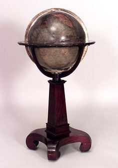 American Empire clock/mechanical globe of the world alabaster