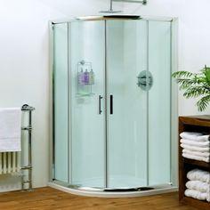 Pacific Quadrant Shower Enclosure with Shower Tray & Waste at Victorian Plumbing UK Cheap Bathroom Suites, Bathroom Shop, Big Bathrooms, Sliding Shower Screens, Shower Doors, Sliding Doors, Tall Cabinet Storage, Locker Storage, Quadrant Shower Enclosures