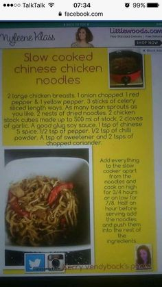 Slow Cooker Recipes, Crockpot Recipes, Chicken Recipes, Cooking Recipes, Healthy Recipes, Healthy Food, Slimmimg World, Chinese Chicken, Slimming World Recipes