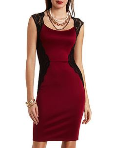 Lace Trim Scuba Bodycon Dress: Charlotte Russe...I mostly wear smalls, but some waists won't fit over my shoulders.