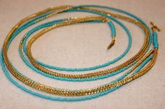 Brass Woven Lace Necklace with Turquoise and  Gold Seed Beads by TanyaKaroonJewelry on Etsy