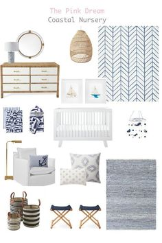 How to Design a Versatile Nursery That Grows with Your Family - The Pink Dream Design a coastal nautical nursery with ocean-inspired ideas for baby's room. Coastal Nursery, Ocean Nursery, Nursery Neutral, Nursery Room, Boy Room, Boy Nautical Nursery, Whale Nursery, Disney Nursery, Boy Nursery Rugs