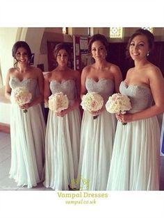 Strapless Sweetheart Lace Bodice A Line Chiffon Bridesmaid Dress: