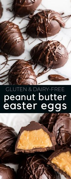 Homemade Peanut Butter Eggs (Gluten-Free & Dairy-Free) These homemade Peanut Butter Eggs are made with only 7 ingredients and are even more delicious than any store-bought Easter candy! Plus they are gluten-free, dairy-free & vegan! Peanut Butter Eggs, Gluten Free Peanut Butter, Homemade Peanut Butter, Peanut Butter Recipes, Dairy Free Gluten Free Desserts, Desserts Ostern, Köstliche Desserts, Dessert Recipes, Recipes Dinner