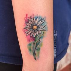 watercolor daisy tat