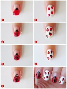 Lady Bug Nail Tutorial #nailart #nails #polish #red - For more nail looks or to share yours, go to bellashoot.com