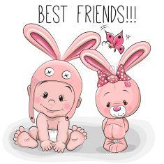 cartoon baby y conejo