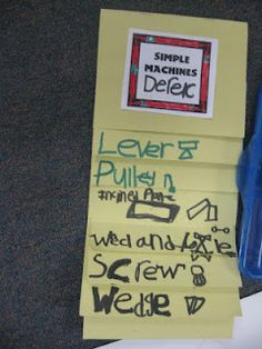 simple machines lessons - the best study guide template for kids to carry around their little notes :)