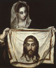 St. Veronica with the Holy Shroud - El Greco, 1580 http://www.wikipaintings.org/en/el-greco/st-veronica-with-the-holy-shroud (Thx Ivana)