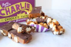 The perfect recipe to embrace your inner Wonka! Popcorn salted caramel fudge chocolate bars #biscuiteers