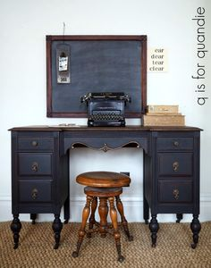the rest of the desk. – q is for quandie black board desk old typewriter piano stool