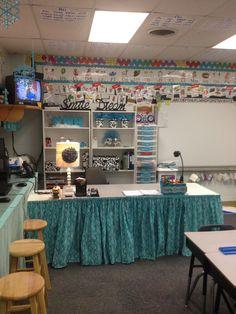 Teacher corner dressed in blue