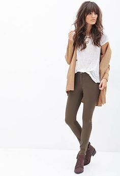 Mid-Rise - Skinny Jeans in Olive.  | FOREVER21 - 2055879388